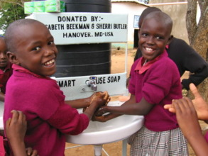 New hand wash station and soap for Kaliambeu PS