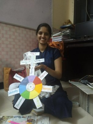 Priyanka with her handmade teaching tool
