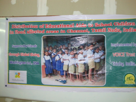 Banner of Education aids to Chennai flood Children