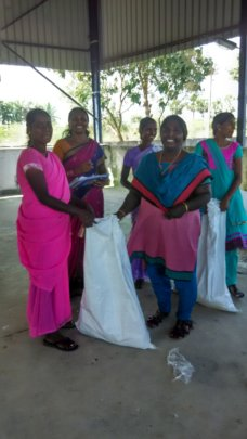 Donated relief material at Achrapakkam Village