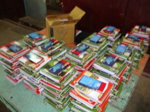 Notebooks, Geo boxes kept ready for flood Children