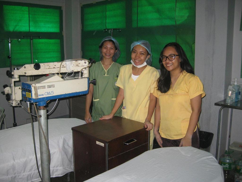 The nurses in the cataract surgery room