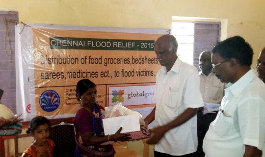 Emergency supplies to chennai floods