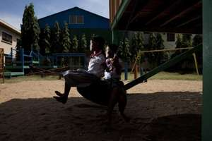 Two Girls Playing on Hagar's Playground