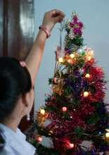Trafficked girls' first Christmas tree