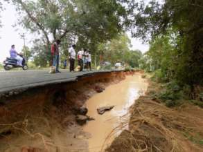 Roads damaged by flood