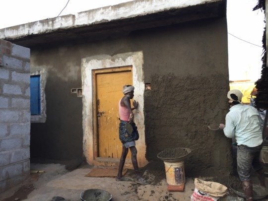 Plastering work of the rebuild walls