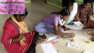 Adolescent girls painting workshop