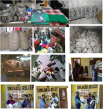 A collage of Relief Kit distribution