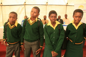 Children receive brand new school uniforms