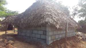 Hut with solid blocks to tribals