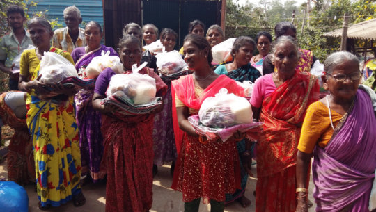 Distribution bedsheet,sarees and food gorceries.