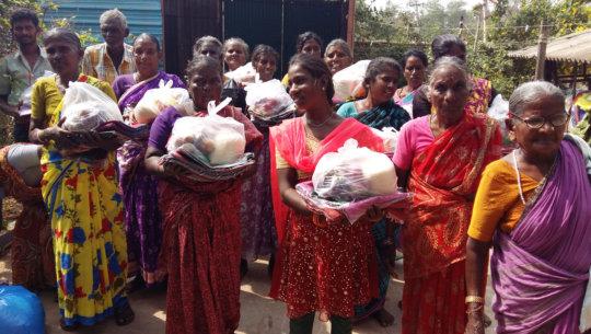 Distribution bedsheet,sarees and food gorceries.