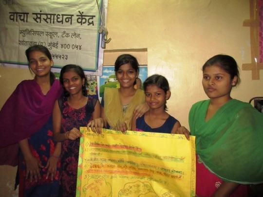 Girls presenting Survey Findings