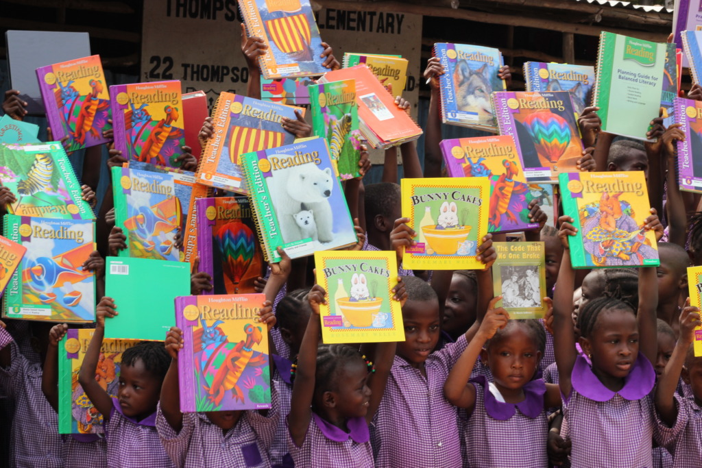 kids with books at Thompson Bay school