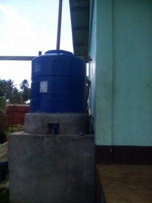 water tank filled with rain water at AAI schools