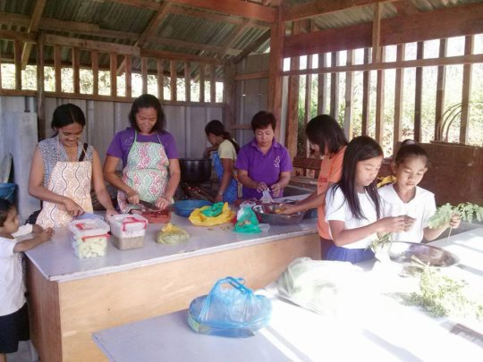 students help Moms with cooking