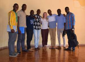 The new team at MindLeaps Guinea & volunteer Julia