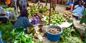 Selling produce in the market
