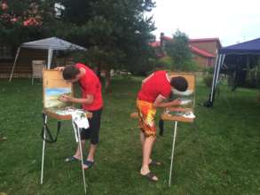 Painting under rain in Summer camp