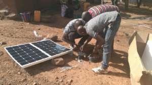 solar panels powering pump