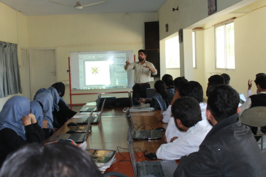 Trainees attending a textile designing class