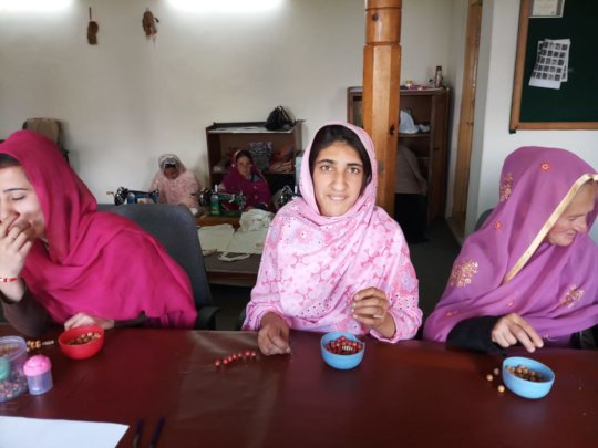 Trainees learning jewelry making in Hunza