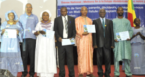 Health workers receiving certificates