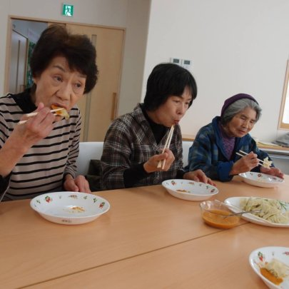 Residents of the temporary housing experience Momo