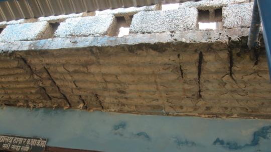 Damaged walls of the school