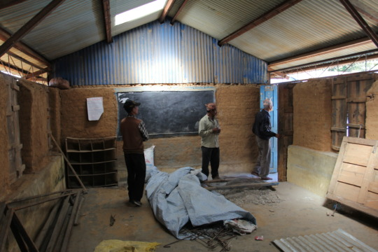 Inside one of the earthquake-damaged classrooms.