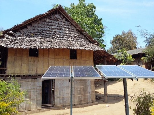 Solar panels collecting energy for lighting
