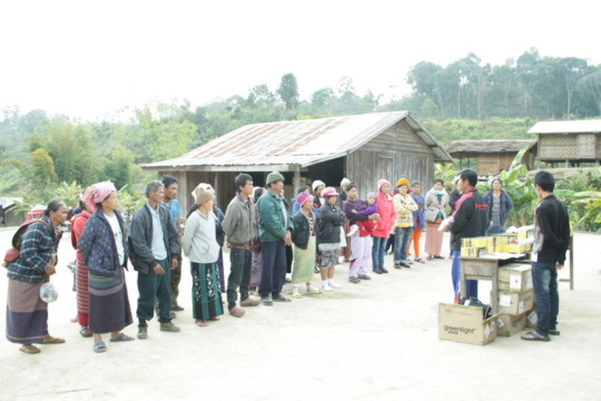 Villagers receiving solar lanterns in Shan State