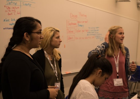 Young women collaborating to solve global problems