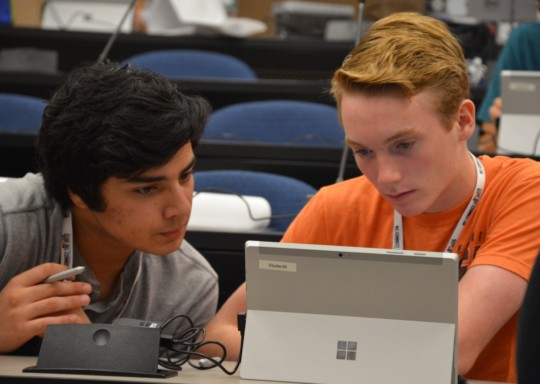 Students working together to address global issues