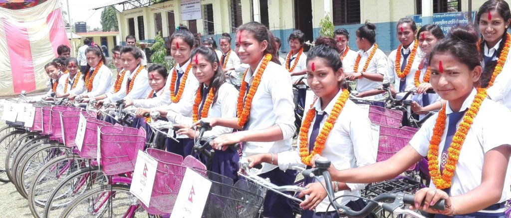 High School girls after receiving the bicycles