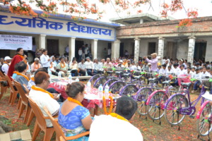 A bicycle distribution ceremony