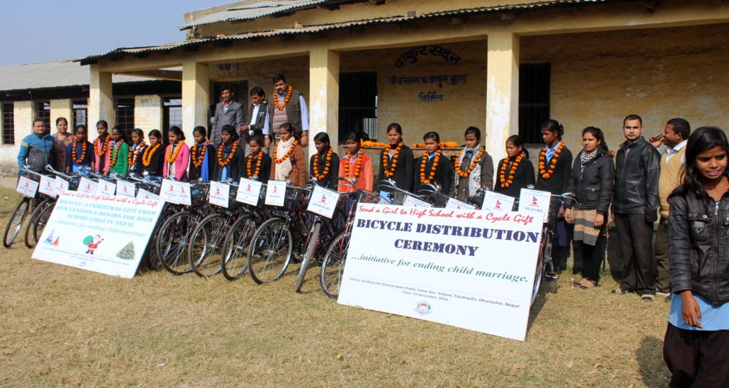 Recipient girls with the bicycles