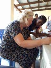 Mireille & Gill planning a second sewing workshop