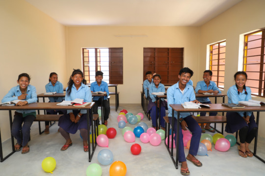 Students Celebrating the Completion of Saraswati