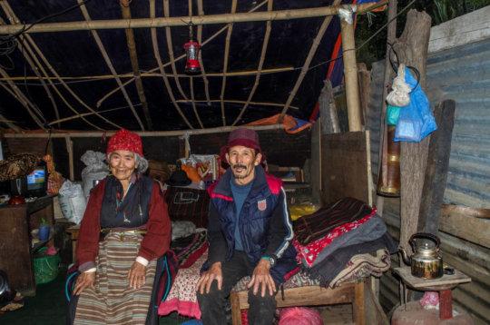 Lhakpa and Pasang inside their temporary shelter