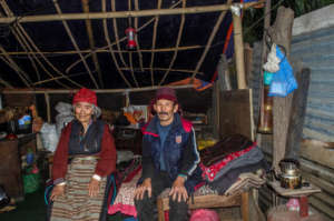 Lhakpa and Pasang inside their temporary shelter