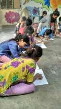 Neha facilitating drawing sessions