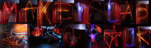 Letters painted with light at MakersLab Jr by kids