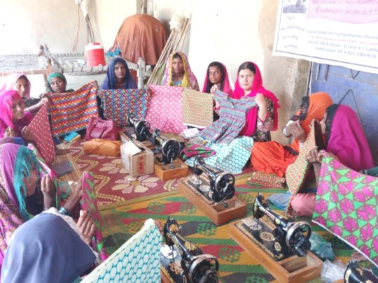 women trained in sewing skills