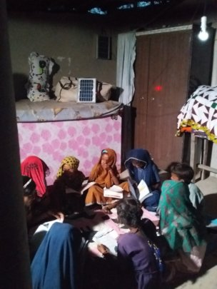 Solar light helps rural women study in night