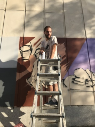 Process of painting the murals