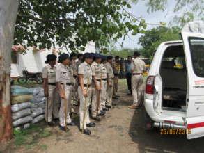 Police gear up for a raid in Ratlam,Madhya Pradesh