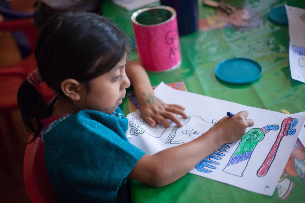 A San Antonio preschooler hard at work