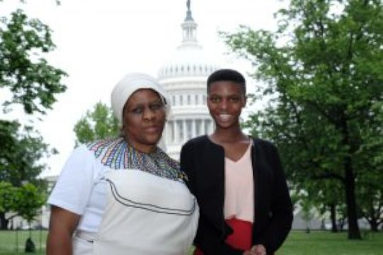 Spokeswoman Babalwa Mbono with her daughter Anathi